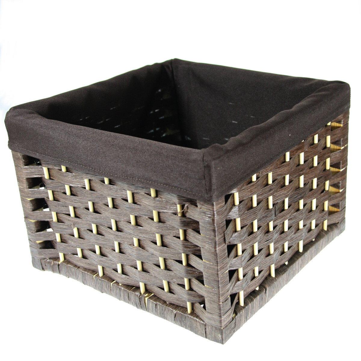 Wiklinowe Koszyki Dekoracyjne Kwadrat Brązowy Jd9510