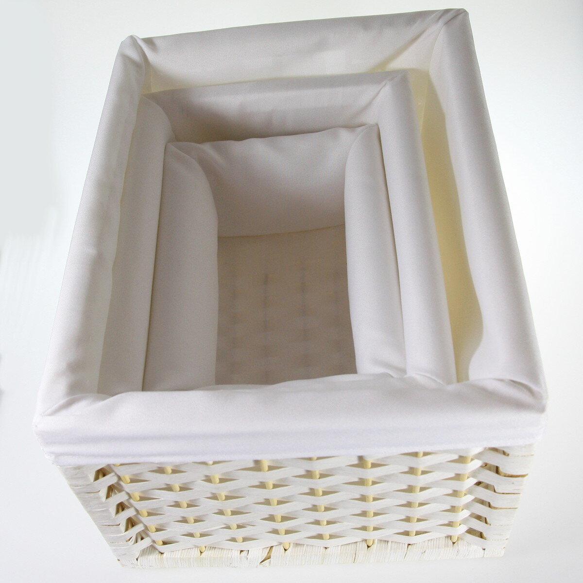 Wiklinowe Koszyki Dekoracyjne Prostokąt Biały Jd9509