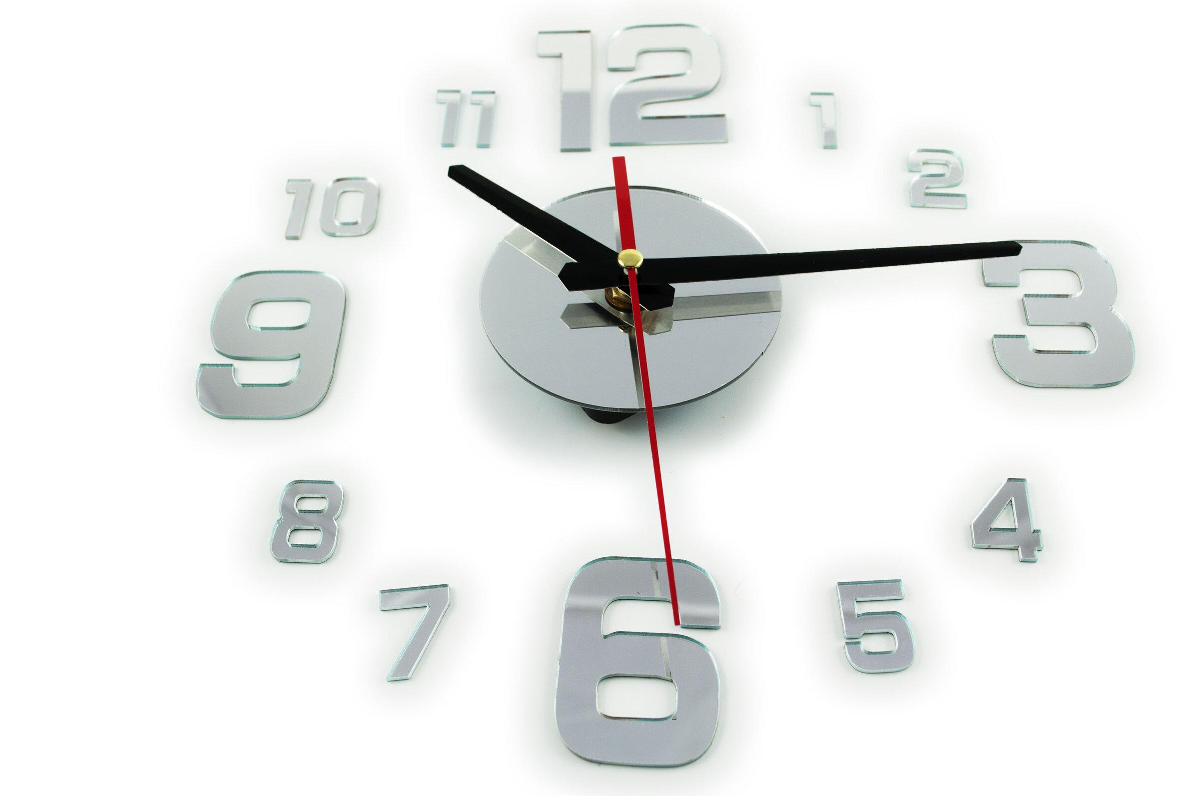 Zegar ścienny Naklejany Z 4 Dużymi Cyframi Srebrny Sklep Internetowy Seltrade