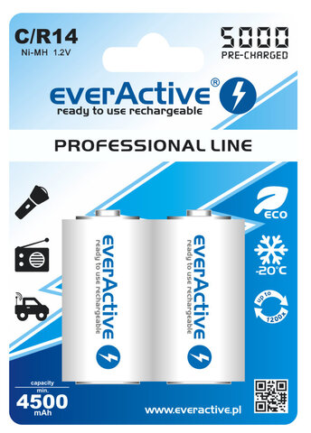 Akumulatory everActive R14 C Ni-MH 5000 mAh ready to use
