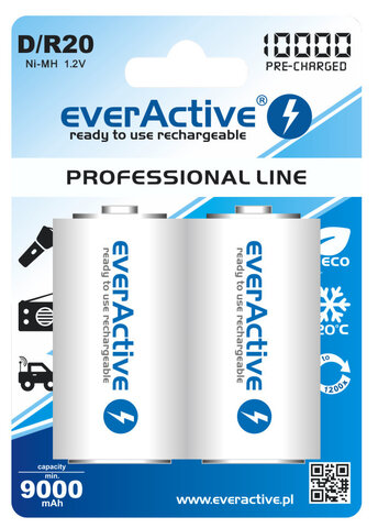 Akumulatory everActive R20 D Ni-MH 10000 mAh ready to use