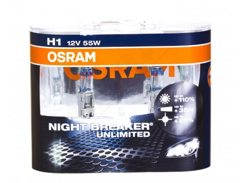 2x Osram H1 NightBreaker UNLIMITED + 110% światła (duo pack)