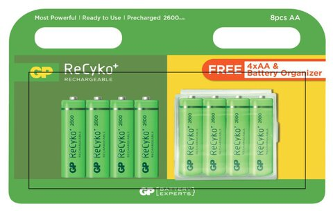 Akumulatorki R6/AA GP ReCyko+ 2700 Series 2600mAh + box