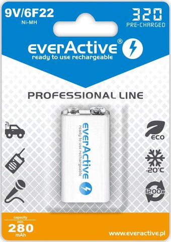 Akumulator everActive 6F22/9V Professional line 320mAh ready to use Ni-MH