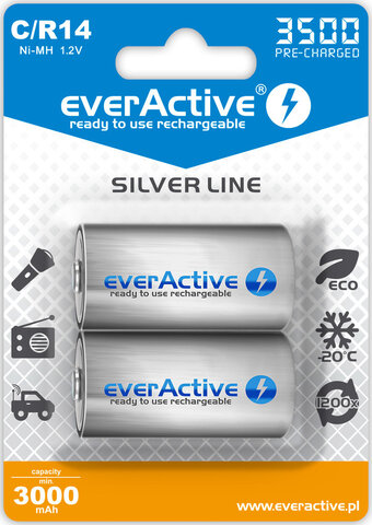 Akumulatorek everActive R14 C Ni-MH 3500 mAh ready to use