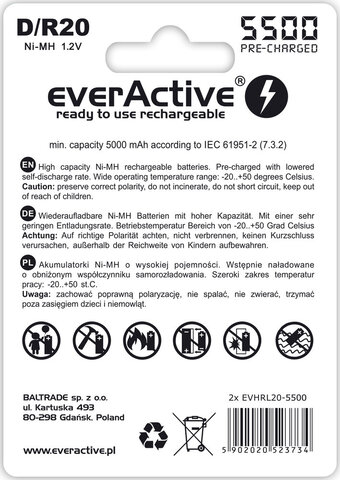 Akumulatorek everActive R20 D Ni-MH 5500 mAh ready to use