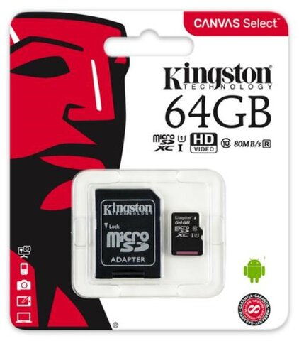 Kingston Canvas Select microSDXC 64GB class 10 UHS-I U1 - 80MB/s + adapter SD