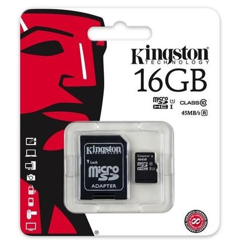 Karta pamięci Kingston microSDHC 16GB class 10 UHS-I + adapter SD