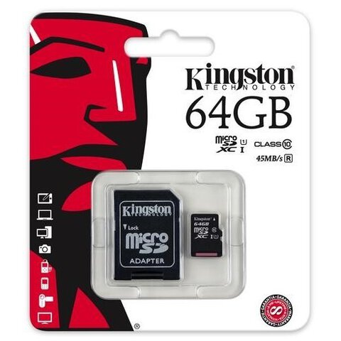 Karta pamięci Kingston microSDXC 64GB class 10 UHS-I + adapter SD