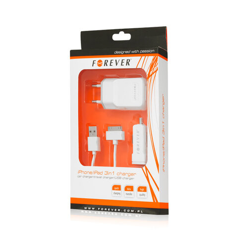 Ładowarka USB Forever 3w1 PŁASKA do Apple iPhone / iPad 30pin