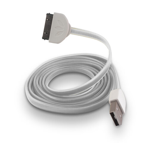 Płaski kabel silikonowy USB do Apple iPhone 3 / 4 biały