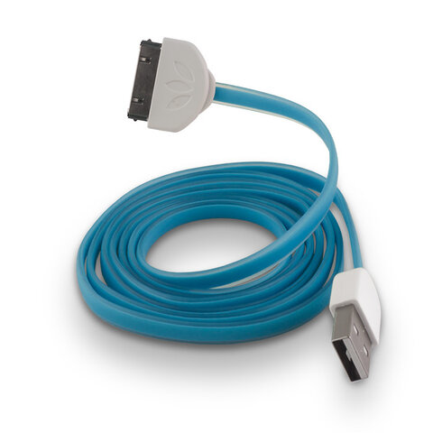 Płaski kabel silikonowy USB do Apple iPhone 3 / 4 niebieski