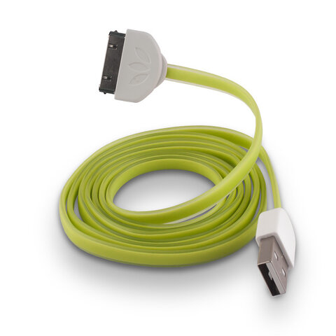 Płaski kabel silikonowy USB do Apple iPhone 3 / 4 zielony