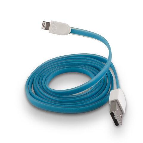 Płaski kabel silikonowy USB do Apple iPhone 5 / 6 niebieski