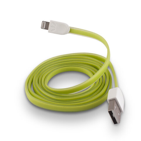 Płaski kabel silikonowy USB do Apple iPhone 5 / 6 zielony