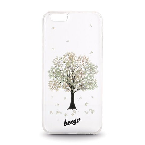 Silikonowa nakładka etui beeyo Blossom do iPhone 5/5s transparentna + ecru
