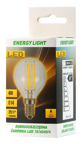 Żarówka LED Filament E14 4W kulka Energy Light RETRO
