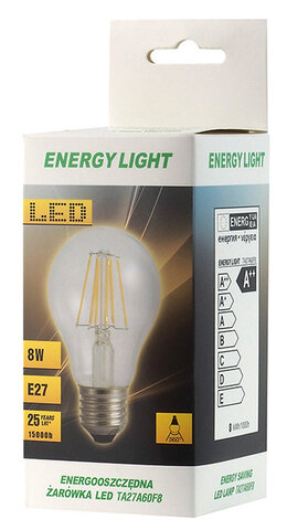 Żarówka LED Filament E27 8W bańka Energy Light RETRO